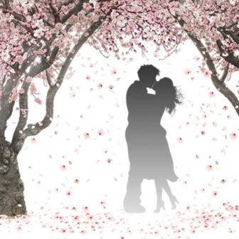 桜の木の下で愛を育むカップル