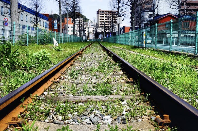 貨物列車の廃線路